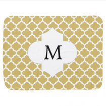 Personalized Monogram Quatrefoil Yellow and White Baby Blanket