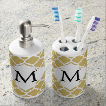 Personalized Monogram Quatrefoil Yellow and White Bathroom Set
