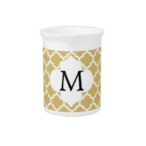 Personalized Monogram Quatrefoil Yellow and White Beverage Pitcher