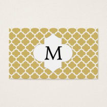 Personalized Monogram Quatrefoil Yellow and White Business Card