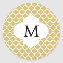 Personalized Monogram Quatrefoil Yellow and White Classic Round Sticker