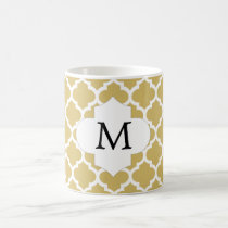 Personalized Monogram Quatrefoil Yellow and White Coffee Mug
