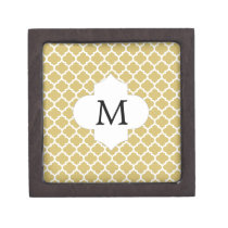 Personalized Monogram Quatrefoil Yellow and White Gift Box