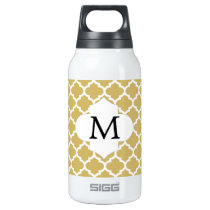 Personalized Monogram Quatrefoil Yellow and White Insulated Water Bottle