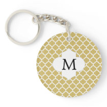Personalized Monogram Quatrefoil Yellow and White Keychain