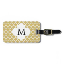 Personalized Monogram Quatrefoil Yellow and White Luggage Tag