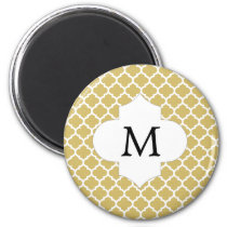 Personalized Monogram Quatrefoil Yellow and White Magnet