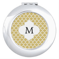 Personalized Monogram Quatrefoil Yellow and White Mirror For Makeup