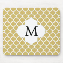 Personalized Monogram Quatrefoil Yellow and White Mouse Pad