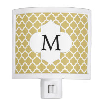Personalized Monogram Quatrefoil Yellow and White Night Light