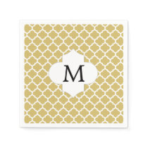 Personalized Monogram Quatrefoil Yellow and White Paper Napkin