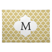Personalized Monogram Quatrefoil Yellow and White Placemat