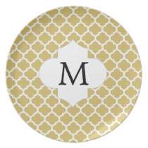 Personalized Monogram Quatrefoil Yellow and White Plate