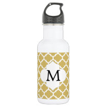Personalized Monogram Quatrefoil Yellow and White Stainless Steel Water Bottle