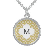 Personalized Monogram Quatrefoil Yellow and White Sterling Silver Necklace