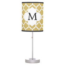 Personalized Monogram Quatrefoil Yellow and White Table Lamp
