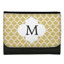 Personalized Monogram Quatrefoil Yellow and White Wallet For Women