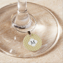 Personalized Monogram Quatrefoil Yellow and White Wine Charm
