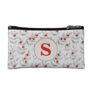 Personalized Monogram Red Berries on Gray Makeup Bag