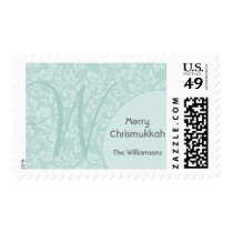 Personalized & Monogram Red Damask Chrismukkah Postage