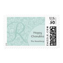 Personalized & Monogram Red Damask Hanukkah Postage