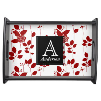 Personalized Monogram Red Floral Serving Tray