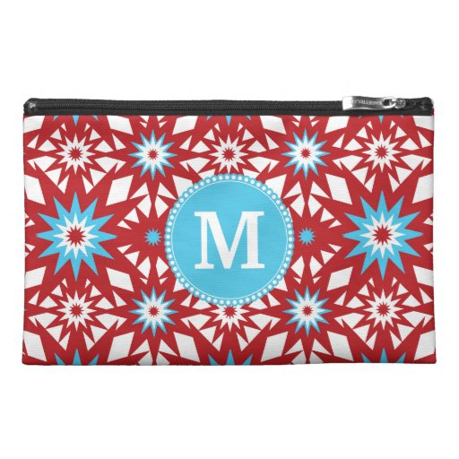 Personalized Monogram Red Teal Blue Star Pattern Travel Accessory Bags