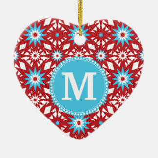 Personalized Monogram Red Teal Blue Star Pattern Ceramic Ornament