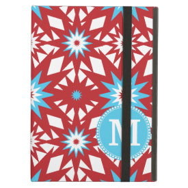 Personalized Monogram Red Teal Blue Star Pattern iPad Cases