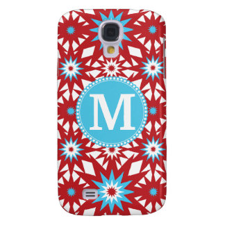 Personalized Monogram Red Teal Blue Star Pattern Samsung Galaxy S4 Cover