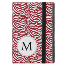 Personalized Monogram Red Zebra Stripes Case For iPad Mini
