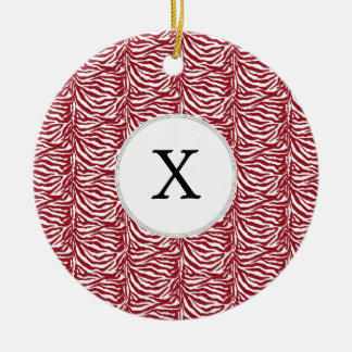 Personalized Monogram Red Zebra Stripes pattern Ceramic Ornament