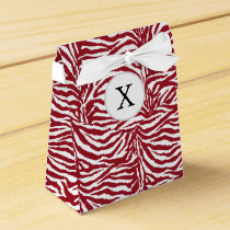 Personalized Monogram Red Zebra Stripes pattern Favor Box