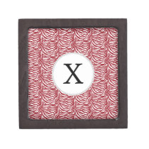 Personalized Monogram Red Zebra Stripes pattern Keepsake Box