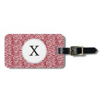 Personalized Monogram Red Zebra Stripes pattern Luggage Tag