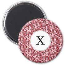 Personalized Monogram Red Zebra Stripes pattern Magnet