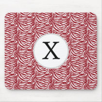 Personalized Monogram Red Zebra Stripes pattern Mouse Pad