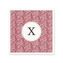 Personalized Monogram Red Zebra Stripes pattern Napkin