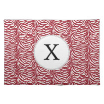 Personalized Monogram Red Zebra Stripes pattern Placemat