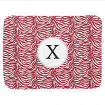 Personalized Monogram Red Zebra Stripes pattern Receiving Blanket