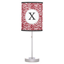Personalized Monogram Red Zebra Stripes pattern Table Lamp