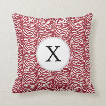 Personalized Monogram Red Zebra Stripes pattern Throw Pillow