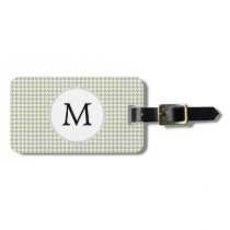 Personalized Monogram Sage Houndstooth Pattern Bag Tag