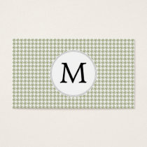 Personalized Monogram Sage Houndstooth Pattern Business Card
