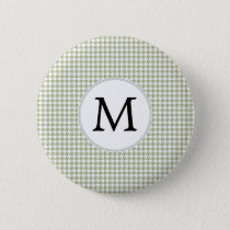 Personalized Monogram Sage Houndstooth Pattern Button