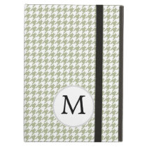 Personalized Monogram Sage Houndstooth Pattern Case For iPad Air