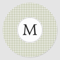 Personalized Monogram Sage Houndstooth Pattern Classic Round Sticker