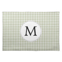 Personalized Monogram Sage Houndstooth Pattern Cloth Placemat