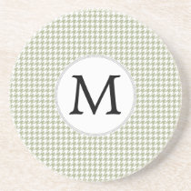 Personalized Monogram Sage Houndstooth Pattern Coaster