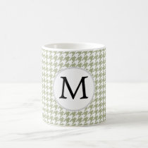 Personalized Monogram Sage Houndstooth Pattern Coffee Mug
